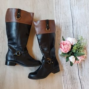 Solanz Black & Brown Riding Boots (Size 6.5)